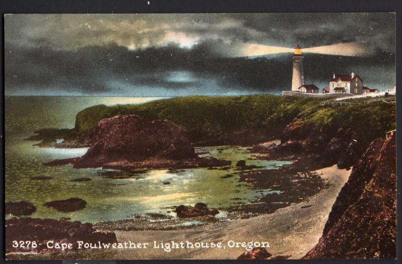 Oregon ~ Cape Foulweather Lighthouse Divided Back