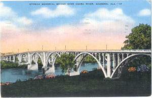 Etowah Memorial Bridge Over Coosa River, Gadsden, Alabama, AL, 1943 Linen
