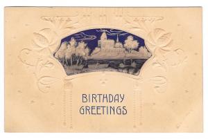 Birthday Greetings Village Lake with Swans Vintage Embossed UDB Postcard
