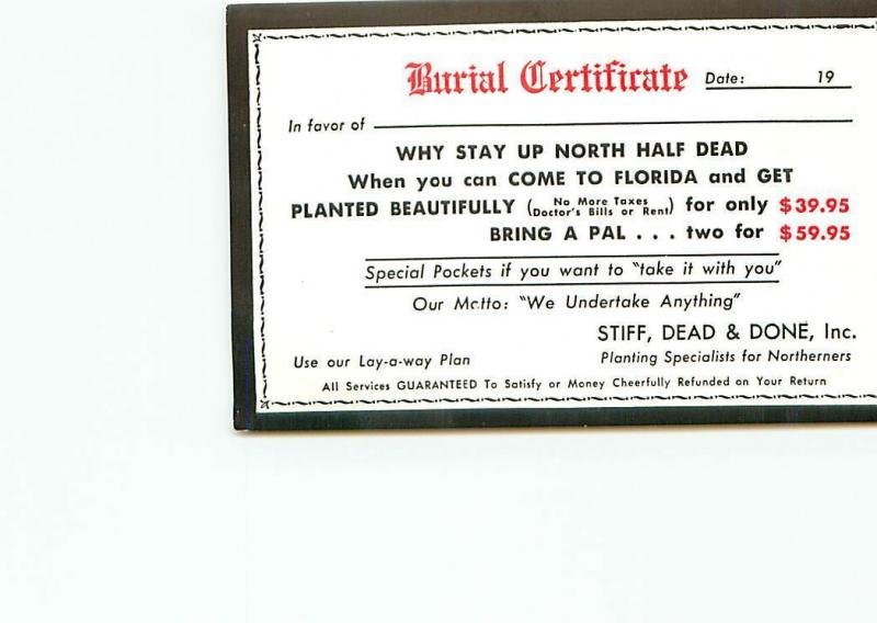 Postcard Humor Death Certificate Come to Florida And Get Planted ...