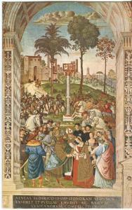 Siena, Liberia del Duomo, Enea Piccolomini presenta Eleonora