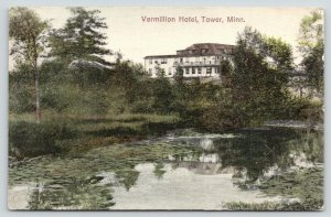 Tower Minnesota~Vermillion Hotel~Lake Front View~Lily Pads~1912 Handcolored PC