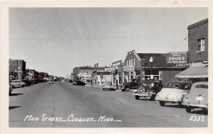 D96/ Cloquet Minnesota Mn Real Photo RPPC Postcard c1930s Main Street Store Auto