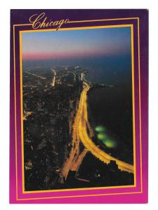Chicago IL Lakeshore Drive Aerial Night View Bruno Marino Photo 4X6 Vtg Postcard
