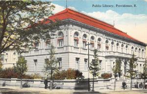 Providence Rhode Island~Public Library~People & Trees on Sidewalk~Berger Bros Pc