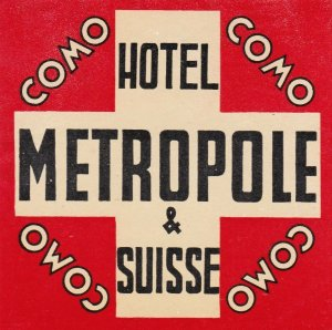 Italy Como Hotel Metropole & Suisse Vintage Luggage Label sk3315