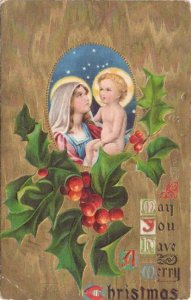 Christmas Madonna and Child Vintage Embossed Litho Gold Moire Postcard