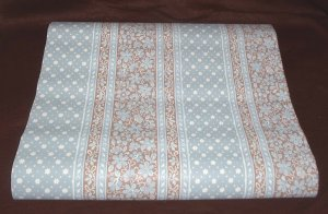 Vintage By the Yard Wall Paper Covering Blue White Brown Floral Stripe