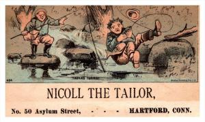 13223   Trade Card   fisherman fell in Water  CT  Hartford  Nicoll the Tailor
