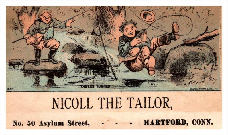 13219   Trade Card   fisherman falls in Water  CT  Hartford  Nicoll the Tailor