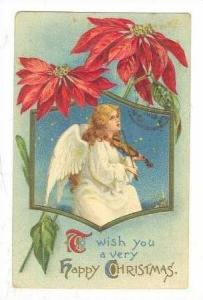 Angel plays Violin on cloud, Christmas, PU-1910