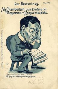 BOER WAR, Caricature, Chamberlain receives Telegrams from the War Zone (1900)