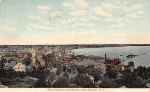 Geneva New York~Birdseye Panorama City to Seneca Lake~Homes~Business~Pier~1908