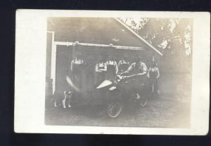 RPPC ALBION INDIANA ANTIQUE VINTAGE MOTORCYCLE BIKE REAL PHOTO POSTCARD