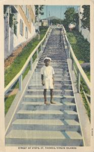 Streets of Steps, St. Thomas, Virgin Islands, Early Linen Postcard, Unused