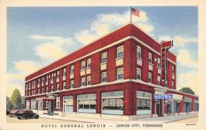 Lenoir City Tennessee~Hotel General~ART DECO Coffee Shop~1944 Linen Postcard