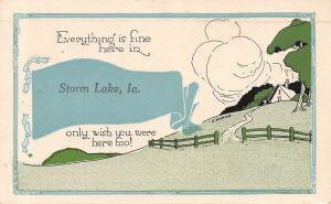 Everything is Fine here in Storm Lake Iowa~House on Hill~1914 Pennant Postcard