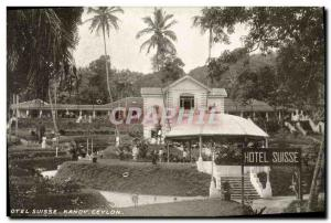 Old Postcard Ceylon Sri Lanka Hotel Suisse Kandy