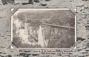Greenville NH~Train pn Boston & Maine Railroad Trestle~Birch Album, Border 1907