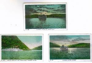 HUDSON RIVER group of (3) Mini Postcards 3 1/2 x 2 1/4 Unused