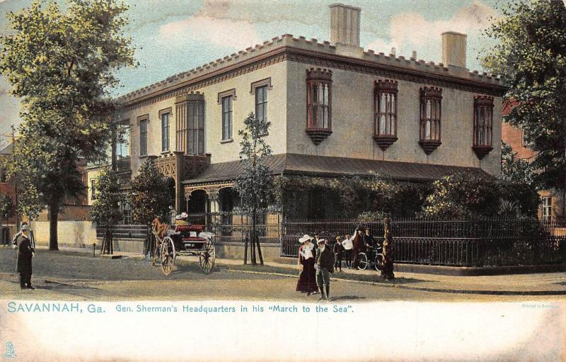 Savannah Georgia General Sherman`s Headquarters in his March to the Sea postcard