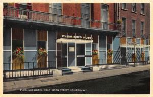 Flemings Hotel, Half Moon Street, London, England, Circa 1960's Postcard, Unused
