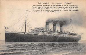 Le Havre Le Paquebot Paris Antique Postcard J56467