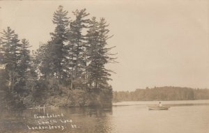 RP: LONDONDERRY , Vermont ,  1900-10s; Pine Island, Lowell Lake, Rowboat