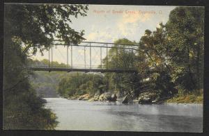 Mouth of Brush Creek & Bridge Zanesville Ohio Unused c1908