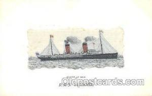 R.M.S. Lucania Ship, Ships, Silk Postcard Postcards  R.M.S. Lucania