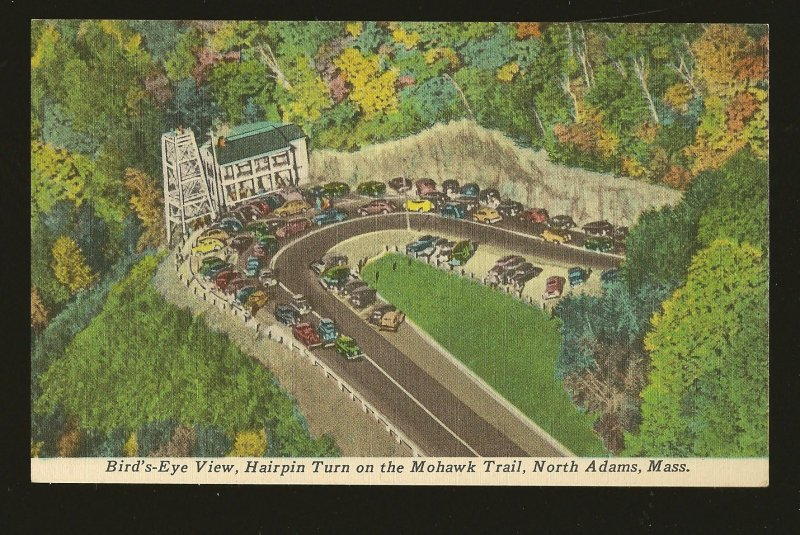 USA Birds Eye View Hairpin Turn Mohawk Trail North Adams Mass Linen Postcard