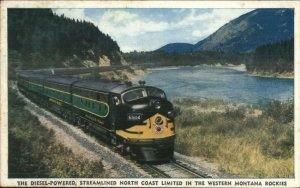 NP Northern Pacific North Coast Limited RR Train Montana Rockies Postcard