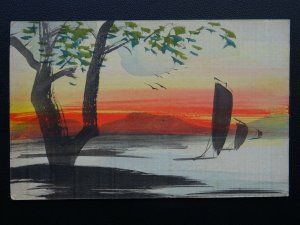 Oriental Hand Painted on Satin Greetings BOATS ON WATER Old UB Postcard