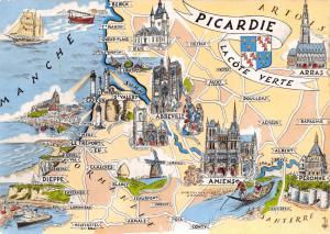 Postcard Map Picardie La Cote Verte, France by Editions GABY B67