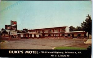 BALTIMORE, Maryland  MD   Roadside  DUKE'S MOTEL  Highway 40  ca 1960s  Postcard