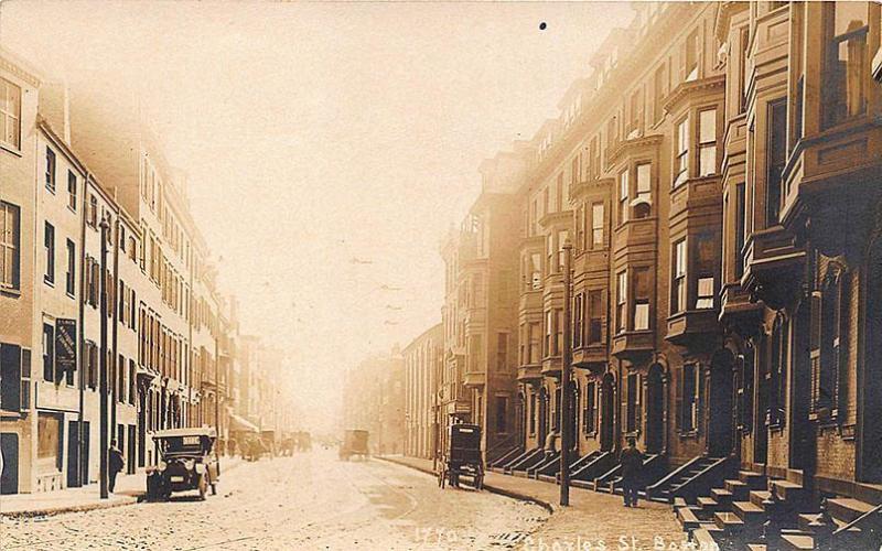 Boston MA Charles Street Residence Buildings Old Cars RPPC Postcard