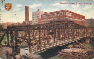 CHICAGO ILLINOIS 1914 Madison Street Bridge postcard 4890