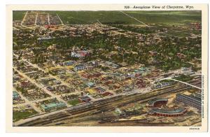 WY Aerial View Cheyenne Wyoming Vintage Sanborn Postcard