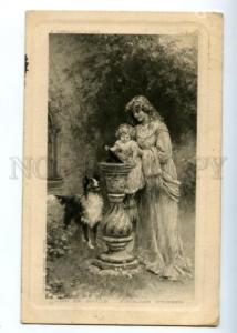 161390 Lady w/ Daughter & COLLIE by TARRANT Vintage PC