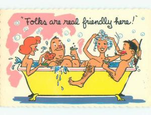Pre-1980 risque PAIR OF SWINGER COUPLES ALL NUDE IN BATHTUB W6824