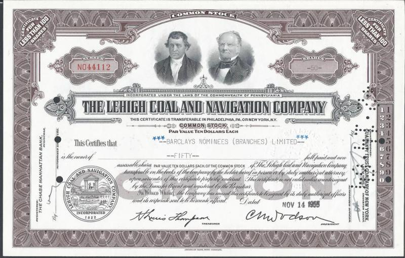 The Lehigh Coal and Navigation Company Common Stock Certi...