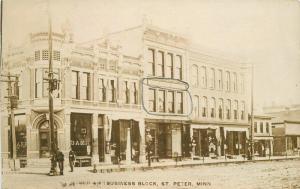 c1910 Saint Peter Nicollet Minnesota Business Block Street Bank Newspaper RPPC