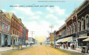 Bay City Michigan~Midland Street West~Wilton's Book Store~Wallpaper~Trolley~1908