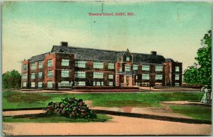 Gary, Indiana Postcard EMERSON SCHOOL Building / Street View w/ 1910 Cancel