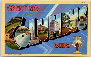COLUMBUS Ohio Large Letter Postcard State Capitol Building Curteich Linen c1940s
