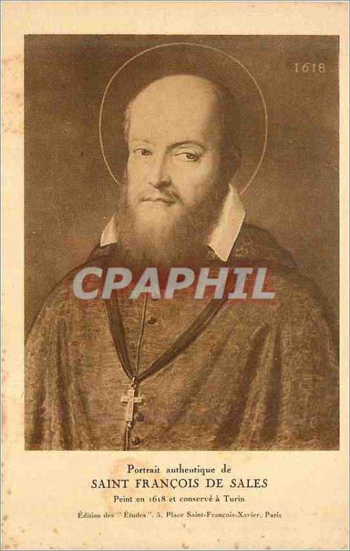 Old Postcard Portrait Authentic of Saint Francois de Sales Painted in 1618 an...