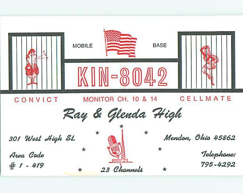 risque SEXY GIRL - QSL HAM RADIO CARD Mendon Ohio OH t1245