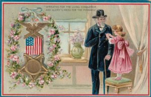 TUCK #158; Girl putting Medal on Old Soldier, U. S. Flag, Flowers, 1900-10s