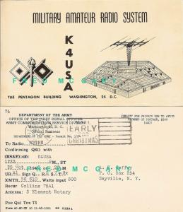 1948 Arlington Co VA QSL Postal Card, Army CSO/ACSD at the Pentagon