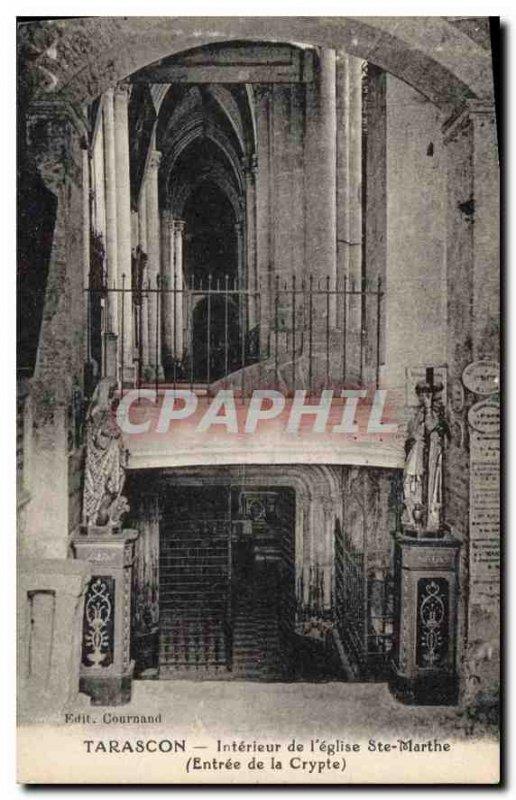 Old Postcard Tarascon Interior of the Church Ste Marthe Entree Crypt